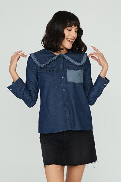 Kadın Mavi Geniş Yaka Detaylı Denim Gömlek Stella
