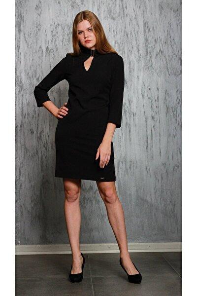 Siyah Truvakar Kol Yakada Bağlama Detaylı Elbise Je91851