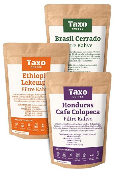 Taxo Honduras Etiyopya Brasil Çekirdek Kahve 3x200gr (ÖĞÜTÜLMEMİŞ)