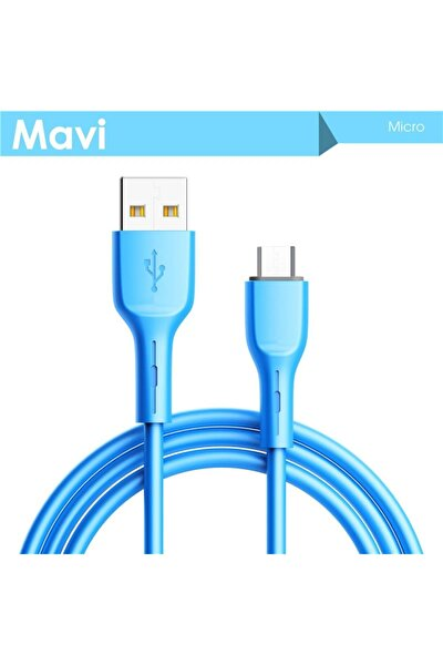 2.4a Hızlı Şarj Kablosu,480mbps Data Kablosu,yumuşak Silikon Kaplı,mikro Usb Uyumlu.1mt.-mavi
