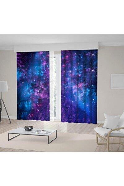 Gece Gökyüzü Yıldız Renk Geçiş Desenli Mavi Mor Fon Perde