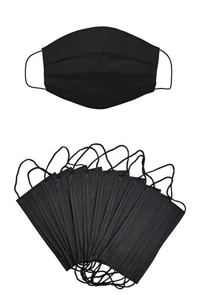 Siyah 50 Adet 4 Katlı Burun Telli Kokusuz Tek Kullanımlık Cerrahi Maske