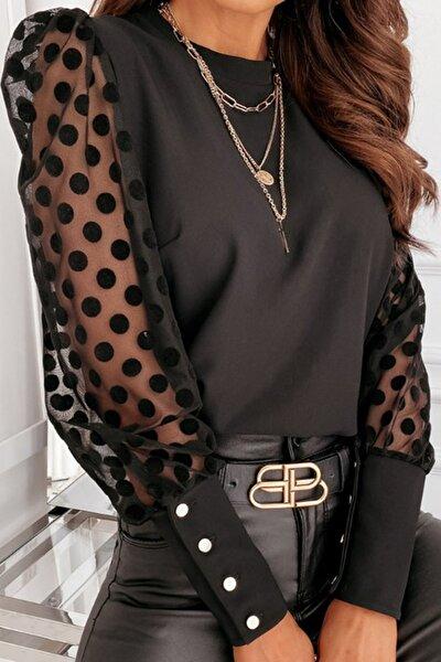 Kadın Siyah Kolları Puantiyeli Gümüş Düğme Detaylı Bluz