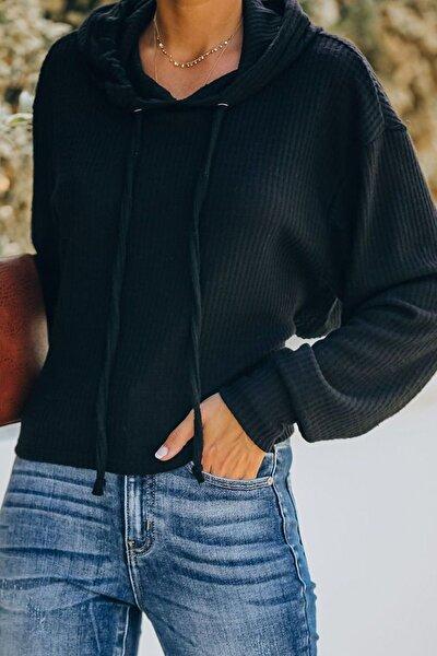 Kadın Siyah Kapüşonlu Bluz