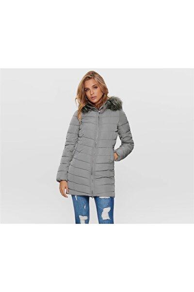 Onlellan Quılted Hood Fur Coat Otw Kadın Mont Silver Filigree