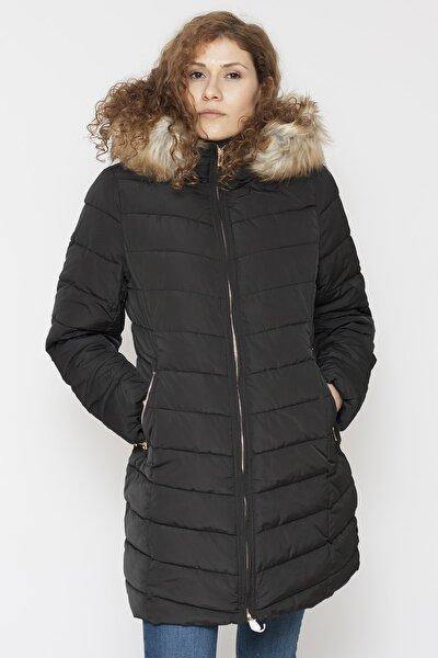Onlellan Quılted Hood Fur Coat Otw Kadın Mont Black