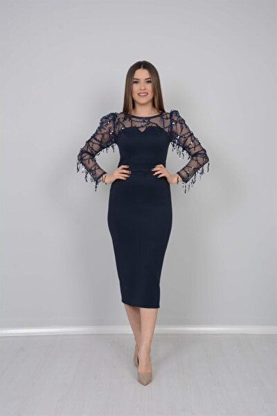 Scuba Kumaş Pul Saçaklı Elbise - Lacivert