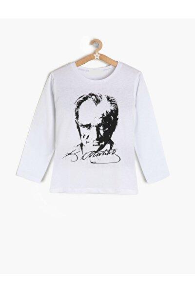 Unisex Çocuk Beyaz Atatürk Tişört Uzun Kollu