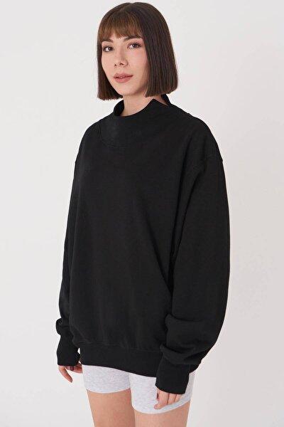 Kadın Siyah Yaka Detaylı Sweatshirt S1078 - T10 Adx-0000023202