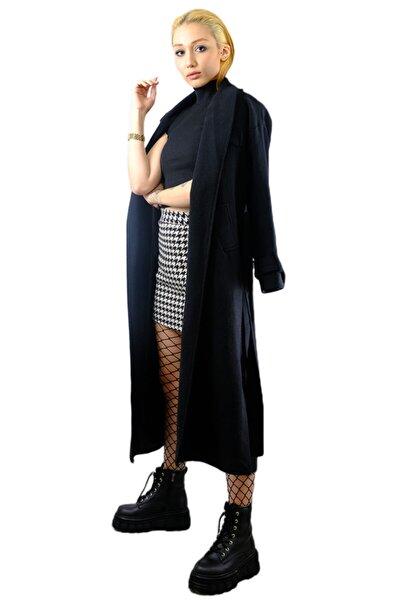 Kadın   Siyah Uzun Pardesü