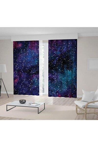 Galaksi Yıldızlı Gökyüzü Desen Lacivert Mor Fon Perde