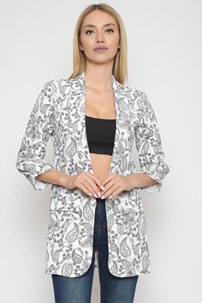 Şal Yaka Uzun Ceket Beyaz