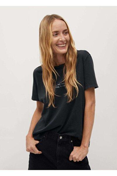 Kadın Siyah Yazılı Organik Pamuklu T-Shirt
