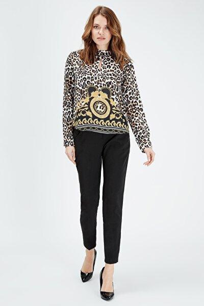 Kadın Leopar Desen Bluz