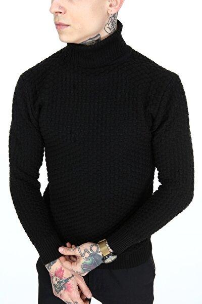 Erkek Siyah Boğazlı Triko Kazak