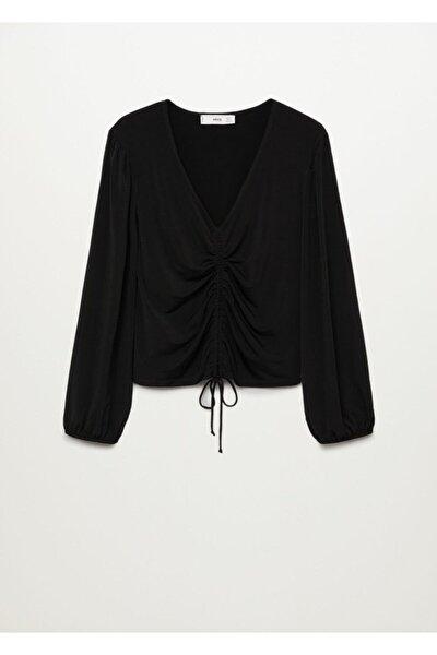 Kadın Siyah Drape Yakalı Tişört