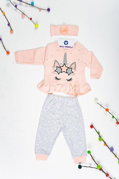 Unicorn 3 Lü Kız Bebek Somon Pamuklu Takım