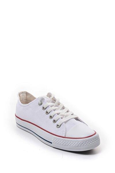 Kadın Beyaz Keten Sneaker Günlük Spor Ayakkabı 22090