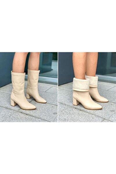 Çift Kullanım Bej Kadın Bot & Bootie Kadın Bot Ayakkabı 6 Cm