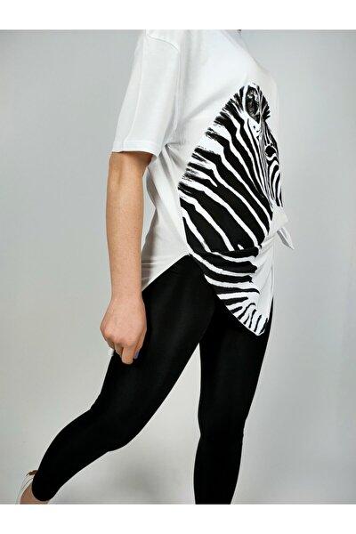 Kadın Beyaz Zebra Baskılı Pamuklu T-shirt