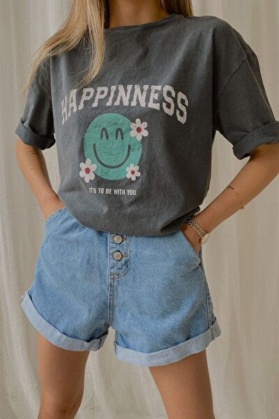 Kadın Gri Happinnes Yıkamalı T-shirt