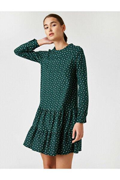 Kadın Yeşil  Bisiklet Yaka Uzun Kollu Çiçekli Kisa Elbise
