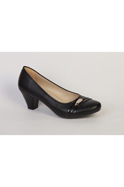 Kadın Siyah Taş Tokalı Cilt Yüzey Ortopedik Topuklu Ayakkabı
