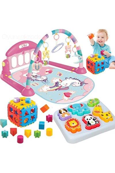 Piyanolu Oyun Halısı Aynalı Müzikli Işıklı Jimnastik Merkezi + 3d Hayvanlar Bultak + Kare Bultak