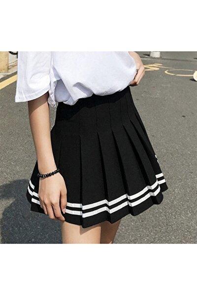 Kadın Siyah  Harajuku Beyaz Şeritli Etek