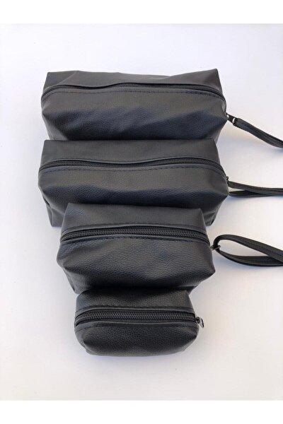Siyah Matruşka Makyaj Çanta Seti 4 Adet