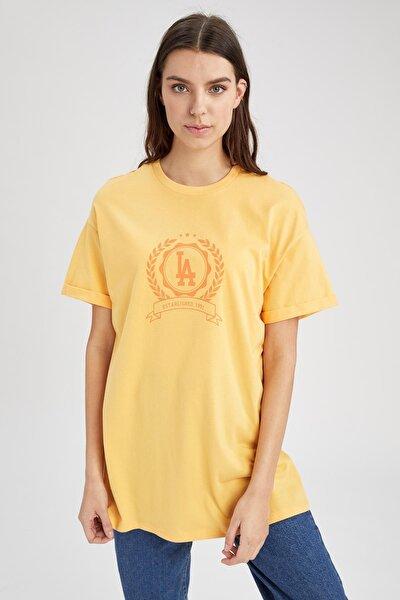 Modest Yazı Baskılı Relax Fit Kısa Kol Tunik Tişört
