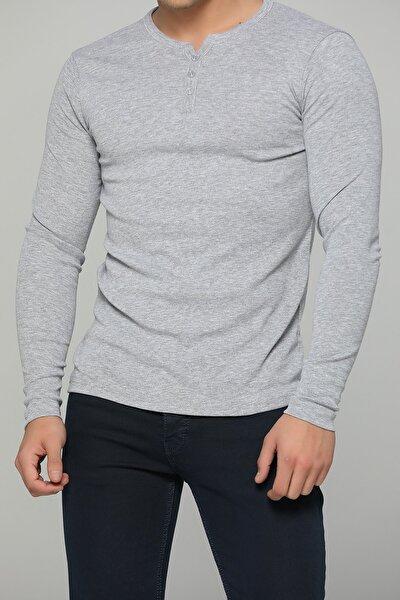 Erkek Gri Düğmeli Sweatshirt