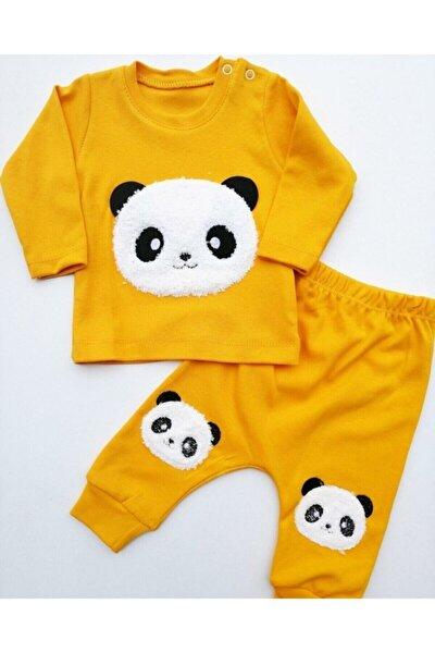 Bebek Panda Nakışlı 2li Pijama Takımı Sarı