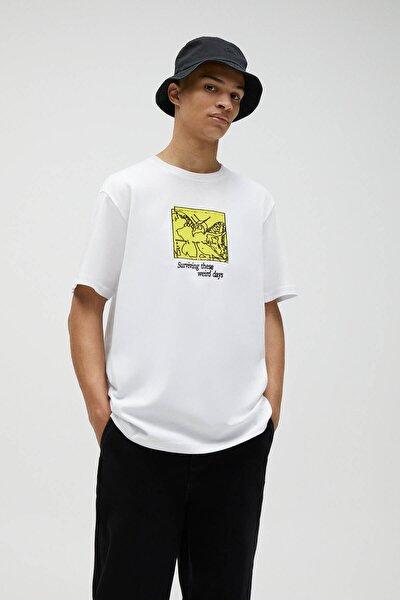 Beyaz Grafik Baskılı  T-shirt