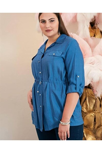 Amore Kadın Mavi Büyük Beden Gömlek