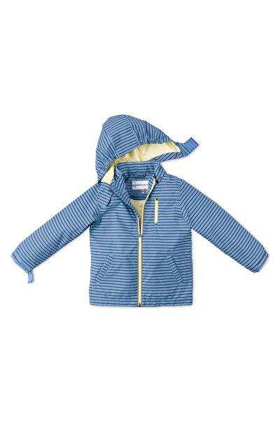 Unisex Çocuk Mavi Çizgili Yağmurluk