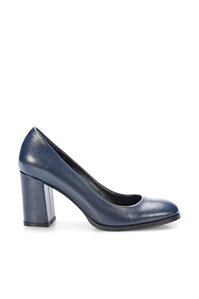 Hakiki Deri Lacivert Kadın Klasik Topuklu Ayakkabı 120130008719