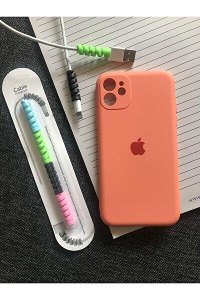 Iphone 11 Kamera Korumalı Logolu Lansman Kılıf+kablo Koruyucu