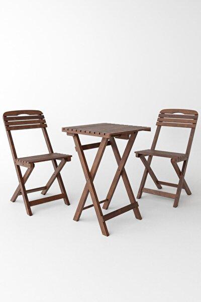 Minderli 60x60 Cm Masalı Balkon Bahçe 3'lü Katlanabilir Bistro Set 2 Sandalye 1 Masa
