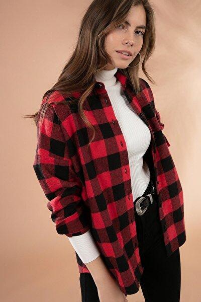 Kadın Bordo Boyfriend Kareli Oduncu Gömlek P20W-3325