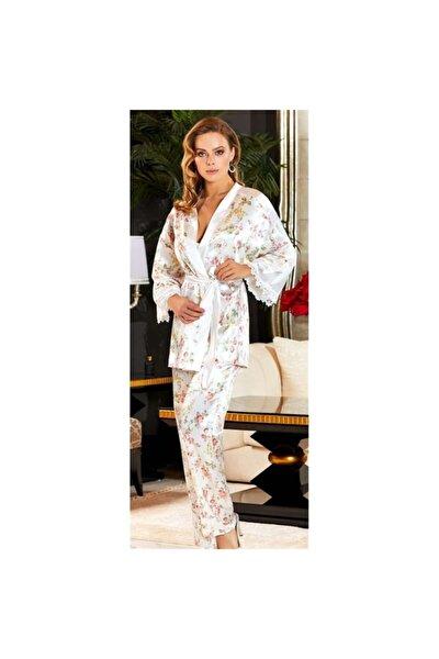 Kadın Krem Çeyizlik Ipek Saten Dörtlü Büstiyerli Pijama Takımı