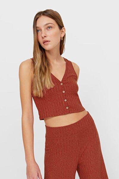 Kadın Kiremit Rengi Rustik Düğmeli Crop Top