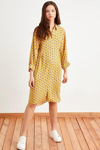 Kadın Empirme Sarı Uzun Kollu Gömlek Elbise 124L7811000