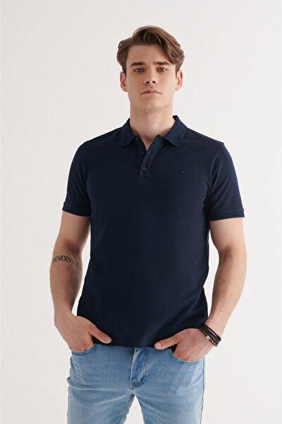 Erkek Lacivert Polo Yaka Düz T-shirt A11b1146