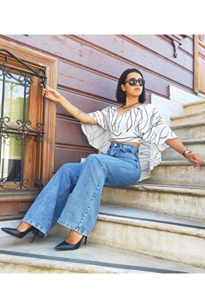 Kadın Beyaz Sırt Dekolteli Tasarım Crop Bluz