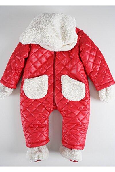 Unisex Bebek Kırmızı Kapüşonlu Astronot Kozmonot Mont Tulum