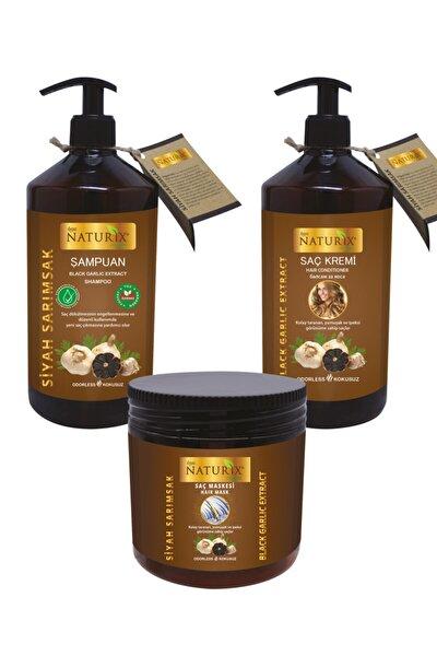 Saç Dökülmesine Karşı Etkili Organik Siyah Sarımsak Özlü Şampuan + Saç Kremi + Saç Maskesi 3'lü Set