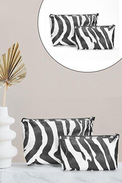 Kadın Siyah Beyaz Zebra Desenli Portföy  El Çantası Seti 2'li