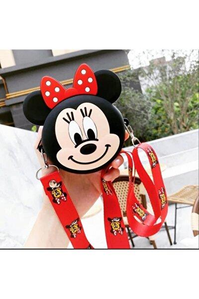 Kız Çocuk Kırmızı Silikon Mini Mouse Tasarım Omuz Çanta