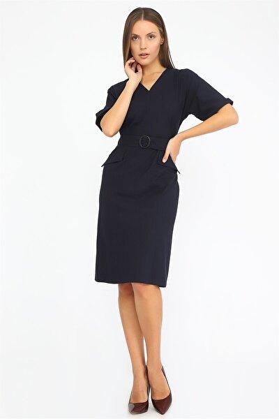 Kadın Lacivert Yarasa Kol Elbise K20EL158